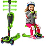 S SKIDEE Scooter for Kids with Folding Seat - 2-in-1Scooter for Kids with Folding/Removable Seat - 2 in 1 Adjustable Height, 3 LED Light Wheels, Kick Scooter for Girls & Boys (Green, Scooter) (Color: Green, Tamaño: Scooter)