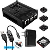Smraza for Raspberry Pi 3 Case with Fan Cooling and Heatsinks, 5V/2.5A Power Supply, Micro USB with On/Off Switch Case compatible with Raspberry Pi 3 2 Model B 3B,Black(Not work with the pi 3b+)