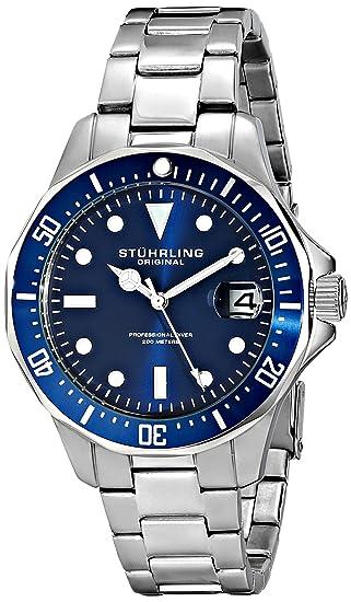 Stuhrling Original Men's 664.02 Aquadiver Quartz Date Blue