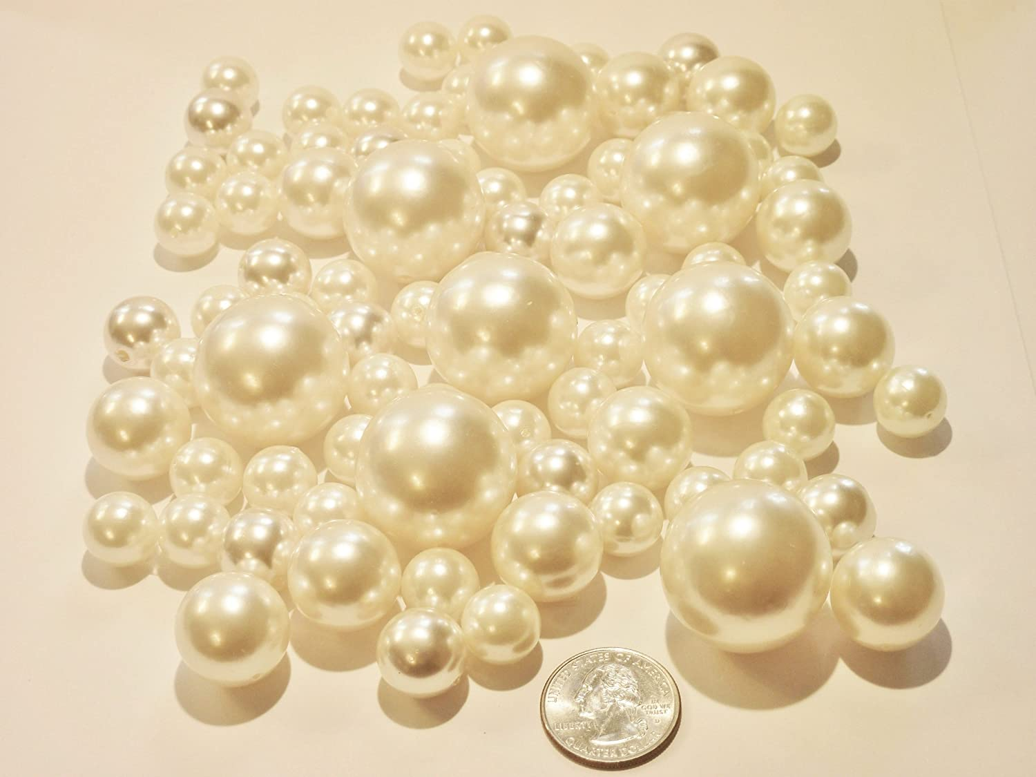 80 Jumbo & Assorted Sizes All IVORY Pearls - Value Pack Vase Fillers