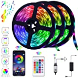 39.42FT/12m LED Strip Lights Flexible Strip Light with Bluetooth Controller Changing Tape Lights kit with LED Sync to Music for TV, Bedroom, Kitchen Under Counter, Under Bed Lighting (3×4M) (Color: Multicolor)