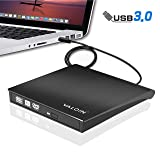 1895 Animo External DVD Drive USB 3.0,Slim CD DVD-RW Optical Drive Burner Writer,Compatible with Windows 10/8 / 7 Linux OS Apple Mac Laptop Desktop PC (Color: BLACK)