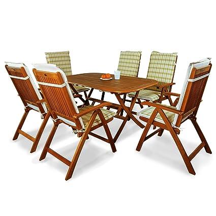 indoba® IND-70064-BASE7 + IND-70412-AUHL - Serie Bangor - Gartenmöbel Set 13-teilig aus Holz FSC zertifiziert - 6 klappbare Gartenstuhle + klappbarer Gartentisch + 6 Comfort Auflagen Karo Grun