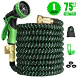 Expandable Garden Hose 75ft Expanding Water Hose, 75' Flexible Lightweight Gardening Hose with 3/4 Inch Strong Solid Brass Fittings 9 Function Hose Nozzle, Outdoor Yard Cloth Hoses(1 Year Guarantee) (Color: Black Green, Tamaño: 75FT)