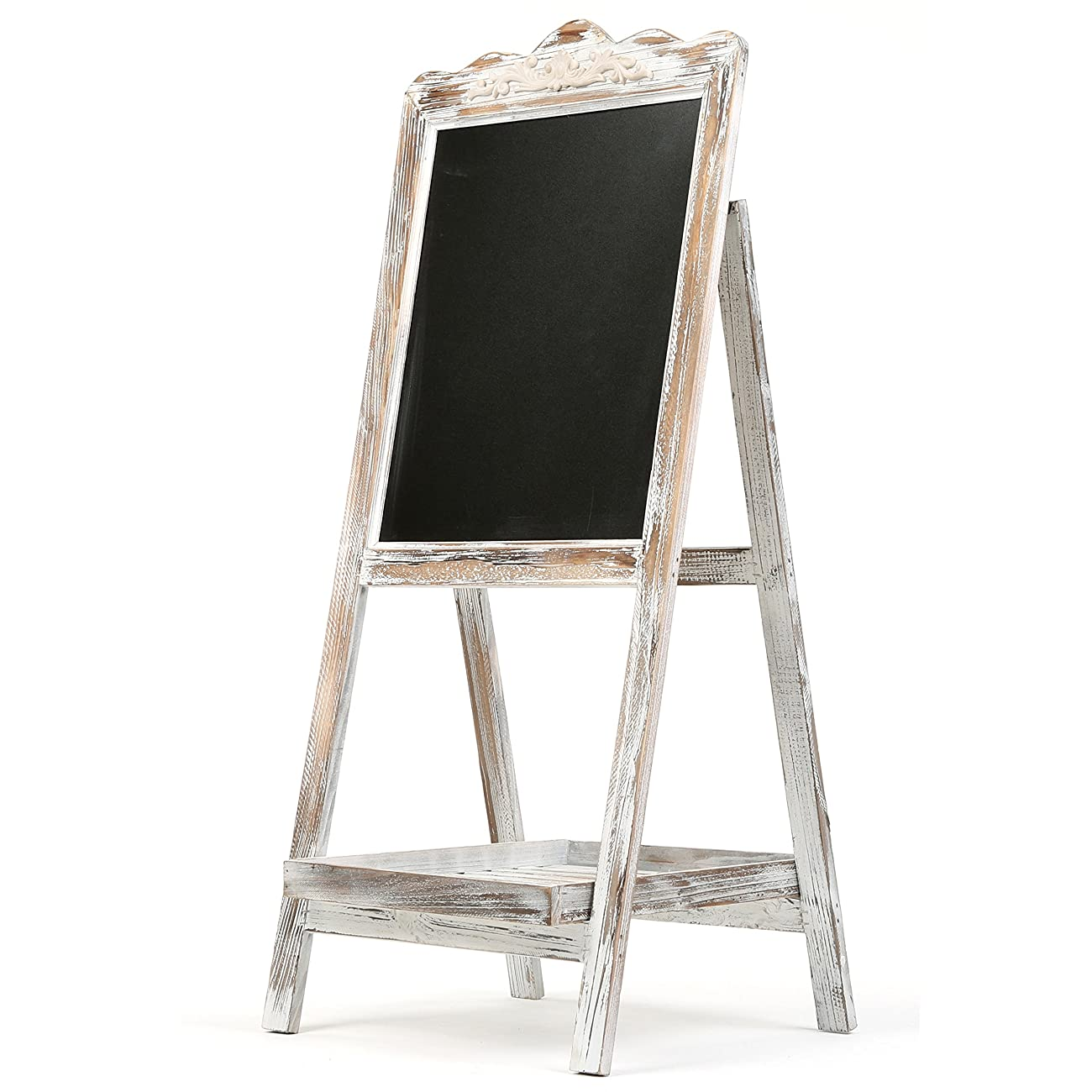 MyGift Vintage Style White Washed Brown Wood Chalk Board Easel / Freestanding Guest Message Sign Board 4