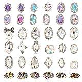 AKWOX 1500PCS 3D Crystal Colorful Flat Back Rhinestones Nail Art DIY Crafts Gemstones with 30PCS Nail Art Metal Gem Stones (Color: colorful)