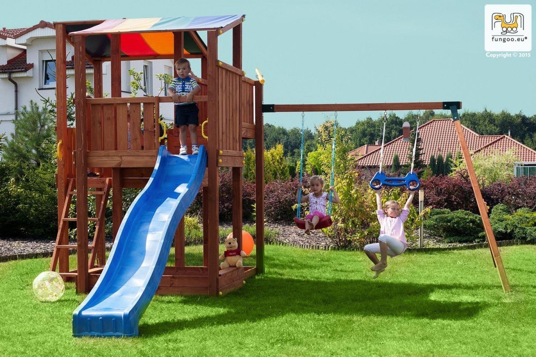 Fungoo ® Kingdom Move+ Spielturm Set mit Rutsche und Schaukel Farbe blaue Rutsche jetzt bestellen