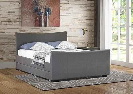 Turin Grey Fabric 4 Drawer Storage Kingsize Bed Frame and Memory Foam Mattress
