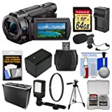 Sony Handycam FDR-AX33 Wi-Fi 4K Ultra HD Video Camera Camcorder 64GB Card + Hard Case + LED Light + Microphone + Battery/Charger + Tripod Kit