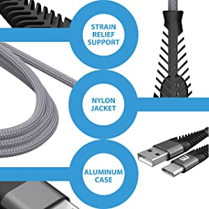 USB Type C Cable, Beam Electronics (4-Pack 6.6FT) USB A to USB-C Fast Charging Nylon Braided USB C Cable for Samsung Galaxy S10 S9 S8 Plus Note 9 8, Moto Z, LG V30 V20 G5, Nintendo Switch (Grey) (Color: Grey, Tamaño: 6.6 Feet)