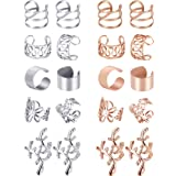 Blulu 10 Pairs Ear Cuff Set Stainless Steel Ear Piercing Ear Clips Non-piercing Earrings Cartilage Hoop Jewelry Accessory for Women and Girls Supplies (Color Set 2) (Color: Color Set 2)