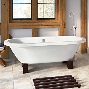 Edward Traditional Roll Top Bath with Dark Oak Feet   Small  iBath       reviews
