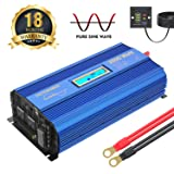 2000Watt Pure Sine Wave Power Inverter 12V DC to 120V AC with 4 AC Outlets Dual 2.4A USB Ports Remote Control & LCD Display by VOLTWORKS (Tamaño: 2000Watt)