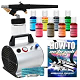 PointZero Cake Airbrush Decorating Kit - Airbrush, Compressor and 8 Chefmaster Colors (Color: Multicolor)