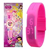 Pappi Boss - Beautiful Girl - Kids Special Toys - Pack of 2 Girl Projector Band Watch for Girls + Jelly Slim Pink Digital Led Band Wrist Watch for Girls, Kids, Children