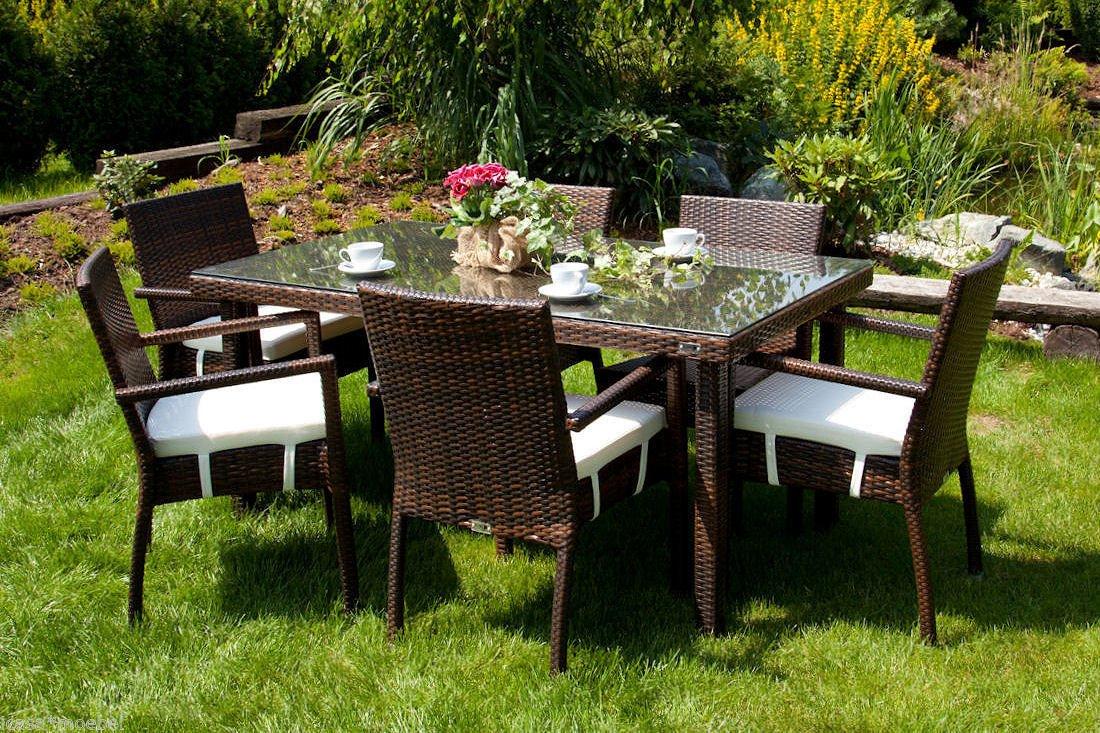 iCASA Polyrattan Gartenmöbel Esstisch Allegro + 6x Stühle Mona inkl. Auflage (stapelbar) braun