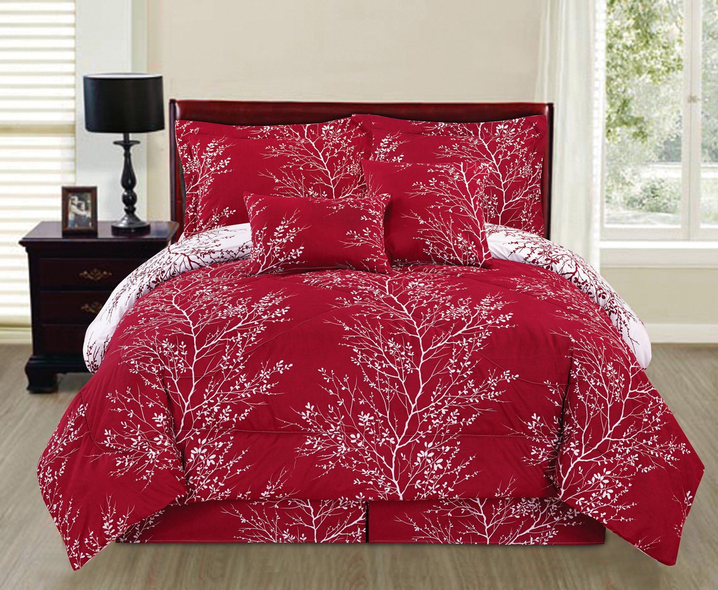 """""""Awad Home Fashion 6 Piece Branches Red Comforter Reversible Bedding Set (Queen)"""""""
