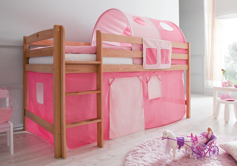 Hochbett Timmy Buche bio geölt rosa-pink