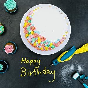 Cake Decorating Kit - Cake Decorating Supplies - Baking Supplies - Cake Turntable - Piping Bags -Russian Piping Tips Set - Piping Bags And Tips - Cupcake Decorating Kit - Cake Decorating Tools & More (Color: Blue)