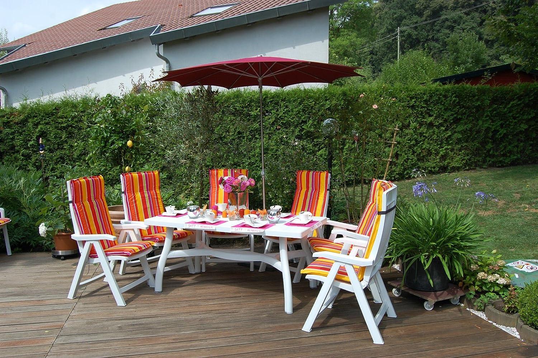 Premium Nardi Gartenmöbelset Aruba 13tlg. Weiß - M317-HL orange-gelb gestreift