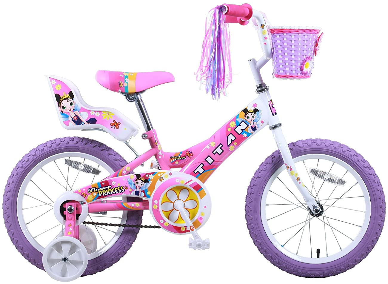 Titan Girl's Flower Princess BMX Bike, Pink, 16-Inch 1