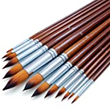 Artist Watercolor Paint Brushes Set 13pcs - Round Pointed Tip Soft Anti-Shedding Nylon Hair - Detail Paint Brush for Watercolor, Acrylics, Ink, Gouache, Oil and Tempera (Tamaño: 13pcs)