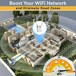 SETEK WiFi Range Extender Signal Booster to 2500 FT, 300 MBPS Wireless Internet Amplifier - Covers 15 Devices with 4 External Advanced Antennas, 5 Working Modes, Overvoltage Protection, LAN/Ethernet (Color: White 2 Antennas)