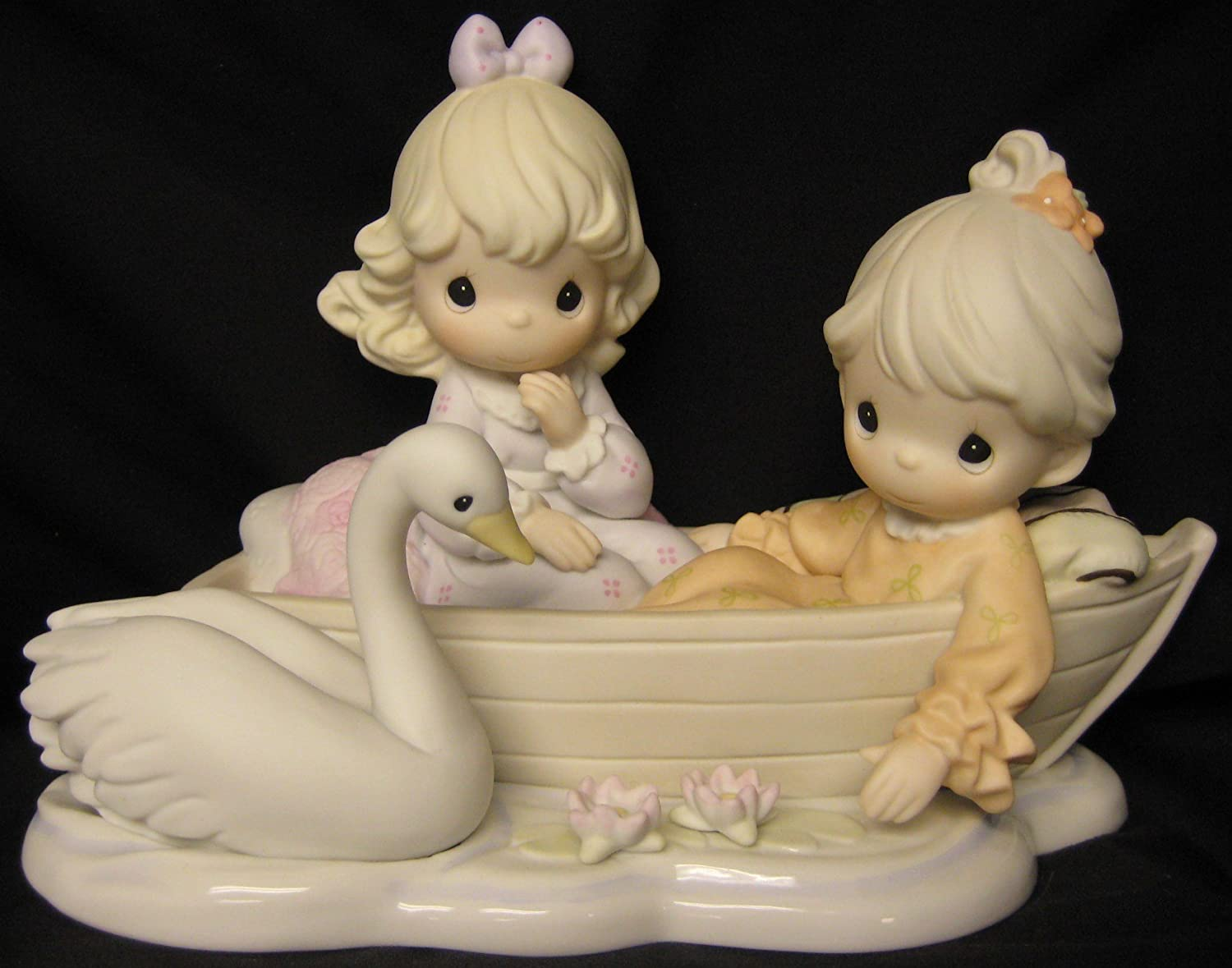 Precious Moments U201cSharing Our Time Is So Preciousu201d Century Circle Exclusive  Limited Edition 456349 Two Girls In Rowboat With Swan