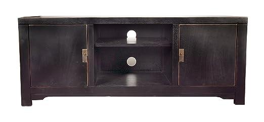 """Sit-Möbel 1815-11 bajo """"Chinese"""", 140 x 48 x 55 cm, con el diseño de la dinastía Ming, de álamo maciza lacada en negro"""