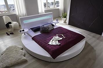 SAM® Rundbett Tangram in uni weiß 140 x 200 cm, inklusiv 2 Nachttischablagen, Kopfteil mit Beleuchtung, modernes Design