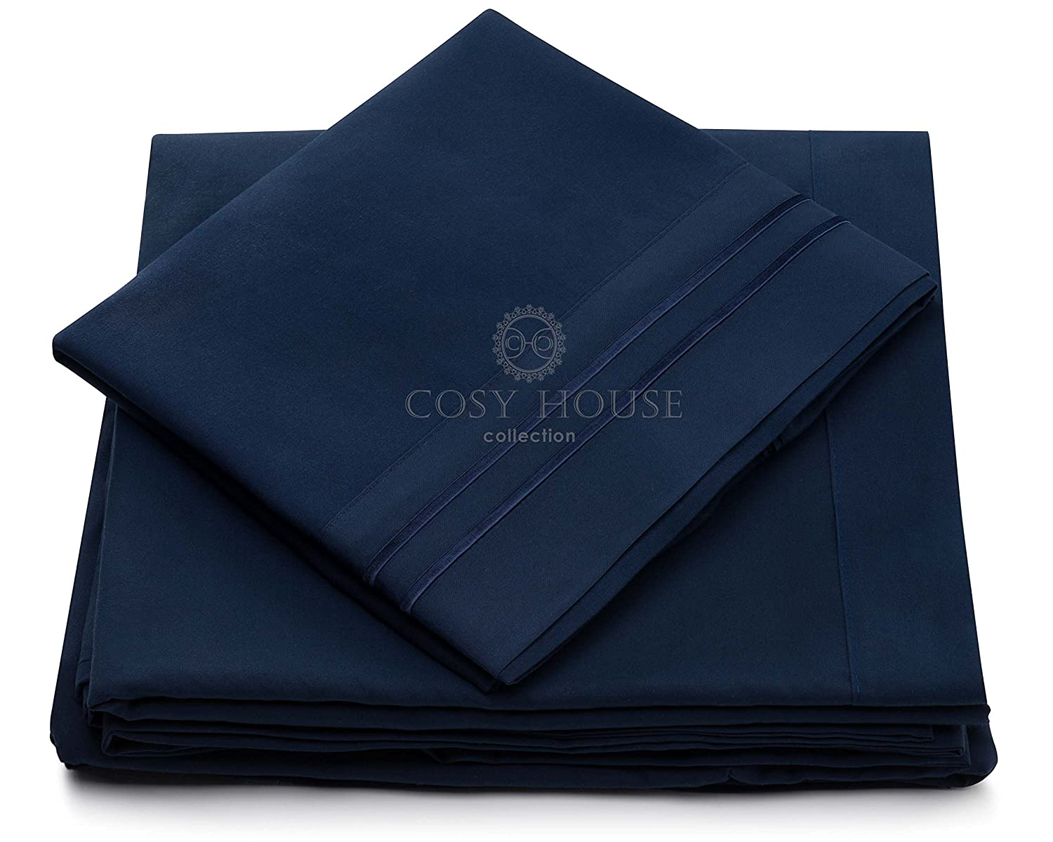 Cosy House Collection Silky Soft 4 pc Bed Sheet Set- High Quality 100% Microfiber- Wrinkle, Fade Free & Stain Resistant- Hypoallergenic- Luxury Fitted & Flat Sheets Plus Pillowcases(Navy Blue, King)