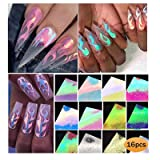 Firstfly 16 Pcs/Set Holographic Fire Flame Nail Stickers, Vinyls Stencil Hollow Stickers Fires on Manicure Stencil Stickers Nail Art Fire Decals Decoration (16 Mix-colors) (Color: 16 Mix-colors)