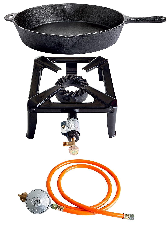 Hockerkocher-Set mit 8.5 kW Leistung, Abmessung 30 x 30 x 15 cm und Gusseisenpfanne Ø 33 cm inkl. Gasschlauch und Regler günstig online kaufen