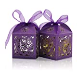 COTOPHER 100 Pack Love Heart Laser Cut Candy Boxes Wedding Party Favor Boxes Small Gift Boxes for Wedding Bridal Shower Baby Shower Birthday Party (100, Purple) (Color: Purple)