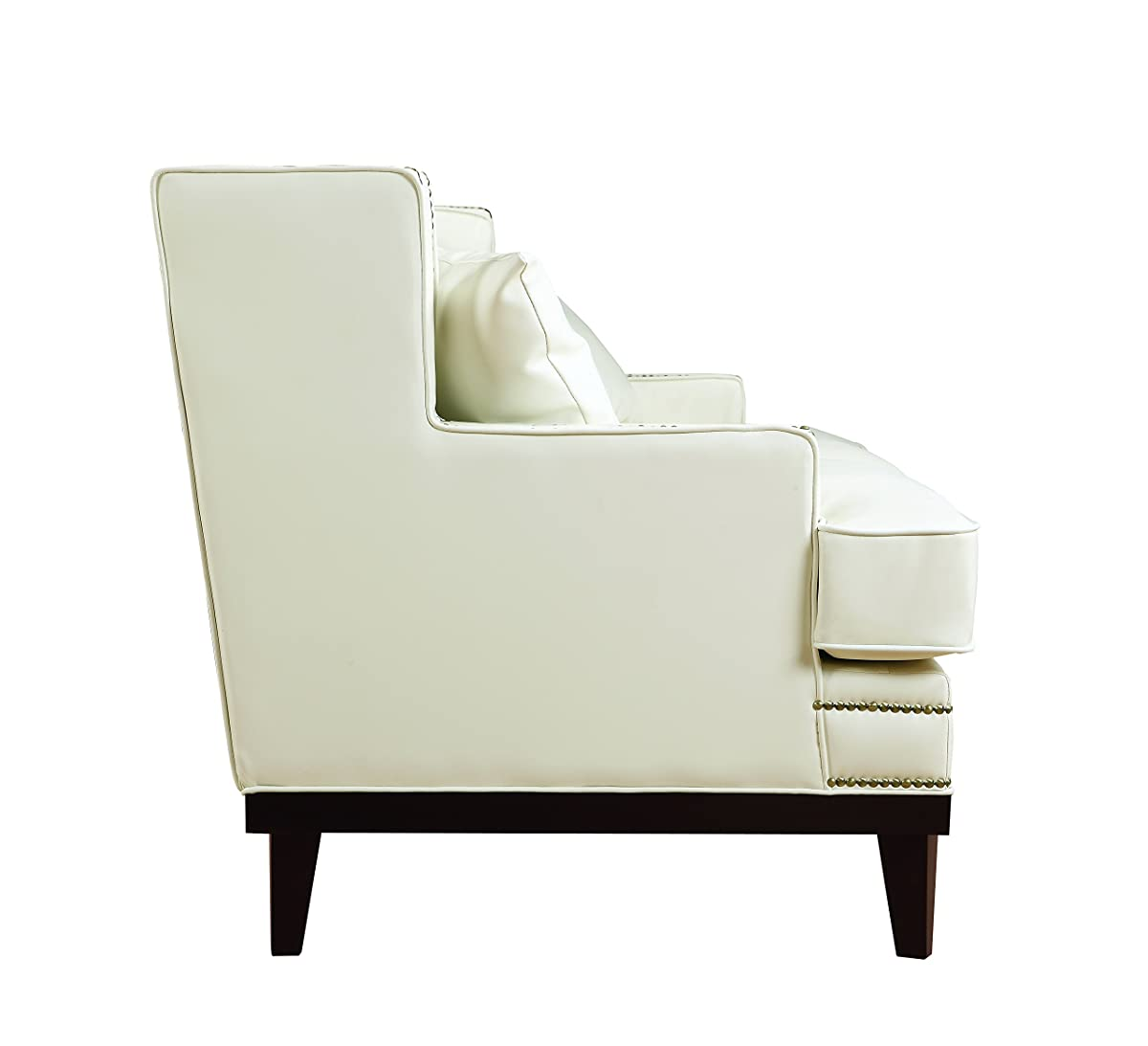 Modern Bonded Leather Sofa With Nailhead Trim Detail White