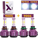 LED Headlight Bulbs 9005 9006 Combo Kit 40000LM Total 6000K White High Low Beam 4-Side Chips 360 Degree for Cars Automotive Headlamp 2 Year Warranty 4PCS (US Stock)