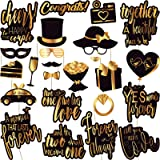 Wedding Photo Booth Props - Gold Wedding Photobooth Props and Signs - Party Favors Supplies and Decorations (24 Count) (Color: Black and Gold)