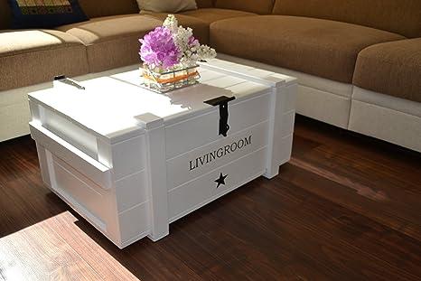 """'Caja de madera Mercancías Caja Baúl mesa Shabby Vintage Rústico """"living room ancho 83,5cm altura 38cm profundidad 55cm"""
