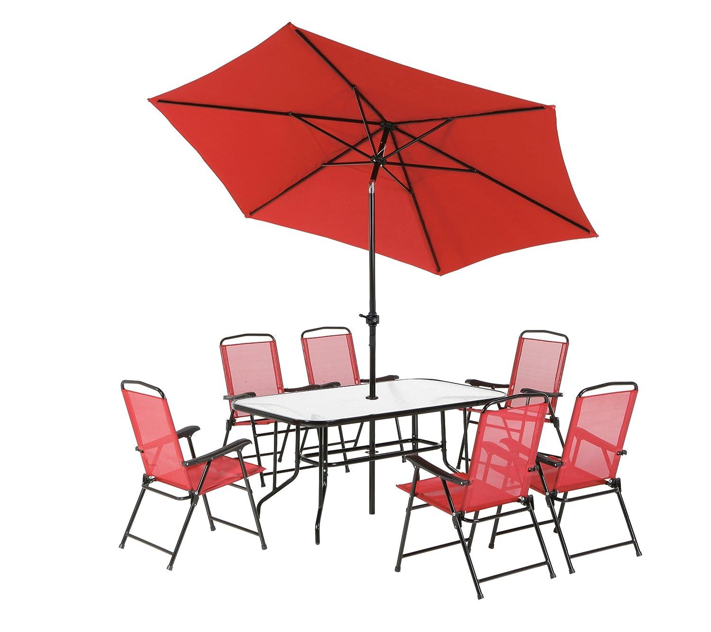 Dajar Gartenmöbel-Sets Möbel-Set Bordeaux, rot / mehrfarbig