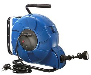 as  Schwabe 12633 FederzugKabeltrommel, 20 m H07RNF 3G1.5, IP44 Aussenbereich, blau  BaumarktKritiken und weitere Informationen