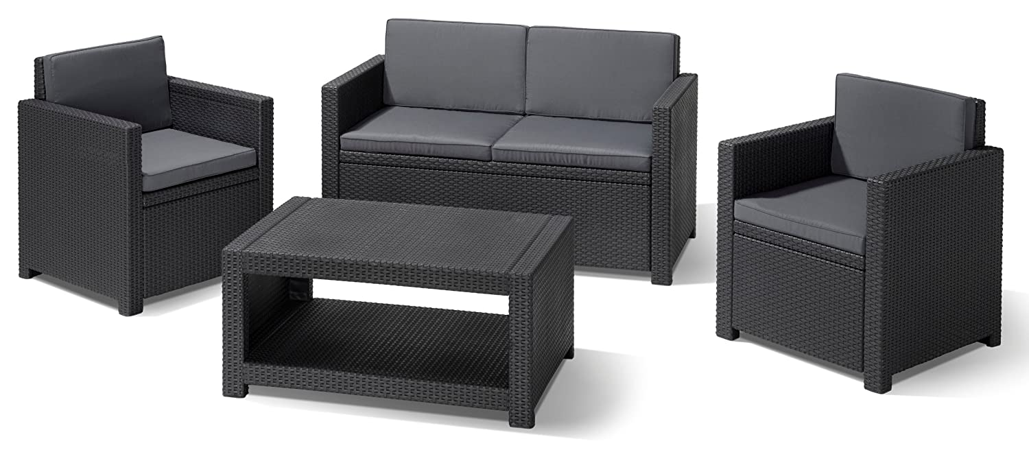 allibert 206459 lounge set monaco 2 sessel 1 sofa 1 tisch rattanoptik kunststoff. Black Bedroom Furniture Sets. Home Design Ideas