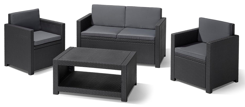 Allibert 206459 Lounge Set Monaco (2 Sessel, 1 Sofa, 1 Tisch), Rattanoptik, Kunststoff, anthrazit kaufen