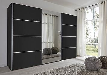 Schlafzimmer Florence Black Sliding Door Wardrobe with Mirror - 301cm Wide - German Made Bedroom Furniture