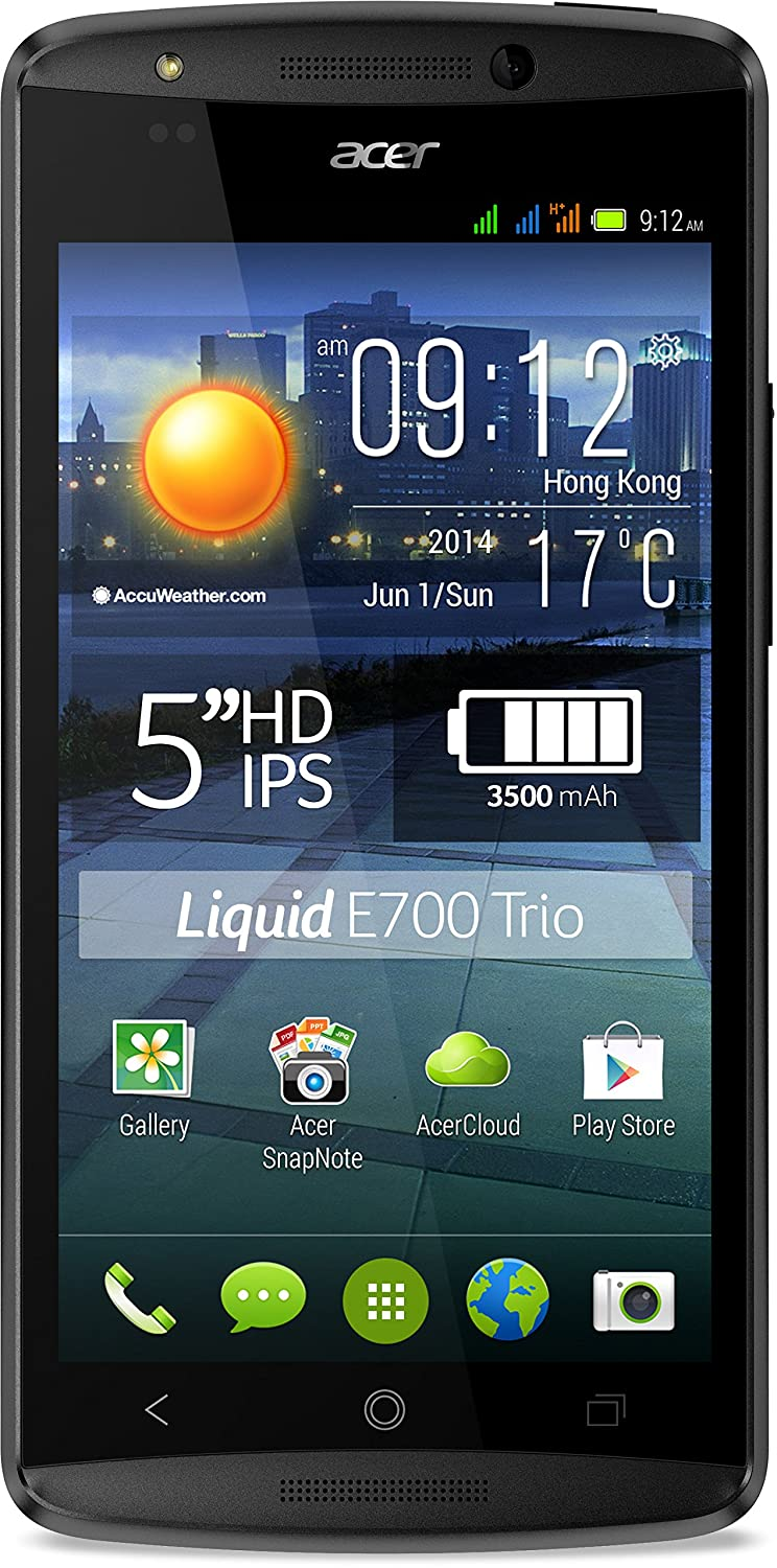 "Acer Liquid E700 - Smartphone libre Android (pantalla 5"", cámara 8 Mp, 16 GB, Quad-Core 1.2 GHz, 2 GB RAM), negro"
