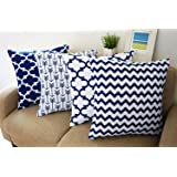WarmTrendyHouse Durable Cotton Linen Square Decorative Throw Cushion Covers Home Decorative Pillowcases 18 x 18 inch Set of 4 -Series (Navy blue)