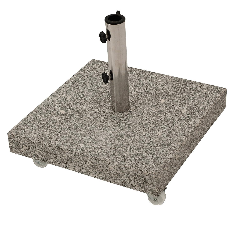 Schirmständer aus massivem Granit 50kg, mit vier gebremsten Rollen, grau günstig bestellen
