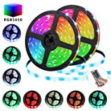 TATUFY LED Strip Lights 32.8FT/10M 300 LED SMD5050 RGB Strip Lights IP65 Waterproof Flexible Tape Light Kit Rope Lights Color Changing with 44 Keys IR Remote Controller & 12V 5A Power Supply (Color: RGB, Tamaño: 32.8FT)