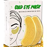 Under Eye Gold Eye Mask - Energizing, Moisturising 24k Gold Collagen Patches for Reducing Dark Circles Puffiness Undereye Bags, Wrinkles | Vegan, All-Natural (15 Pairs)