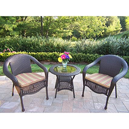Oakland Living Elite Resin Wicker 3-Piece Set with 25-Inch Side Table and Cushions