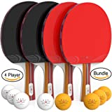 Ping Pong Paddle Set (4-Player Bundle) 4 Ping Pong Paddles | Convenient Storage Bag | 8 Tournament Level ABS Balls | Full Table Tennis Set | Advanced Speed, Control, Spin | Indoor & Outdoor Play (Color: Black Orange)